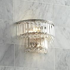 Magnificence Satin Nickel 10 Wide Crystal Wall Sconce