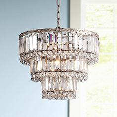 Magnificence Satin Nickel 14 1 4 Wide Crystal Chandelier
