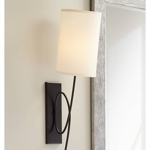 "Loop Dark Bronze 12"" High Plug-In Wall Sconce"