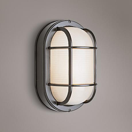 "Bulkhead 11"" High Black Oval Grid Outdoor Wall Light"