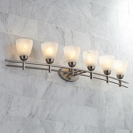 "Possini Euro Deco Nickel 50 1/2"" Wide Six Light Bath Light"