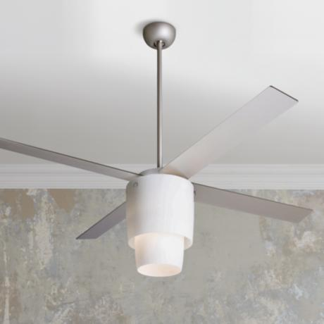 "52"" Modern Fan Halo Nickel Opal Light Ceiling Fan"