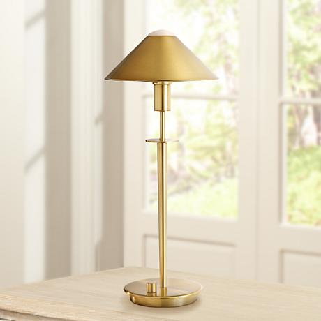 Holtkoetter Antique Brass Tented Metal Shade Desk Lamp