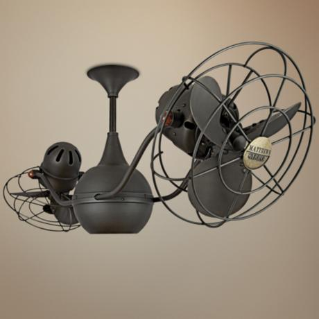 42 matthews vent bettina dual head bronze ceiling fan 72663 lamps plus. Black Bedroom Furniture Sets. Home Design Ideas