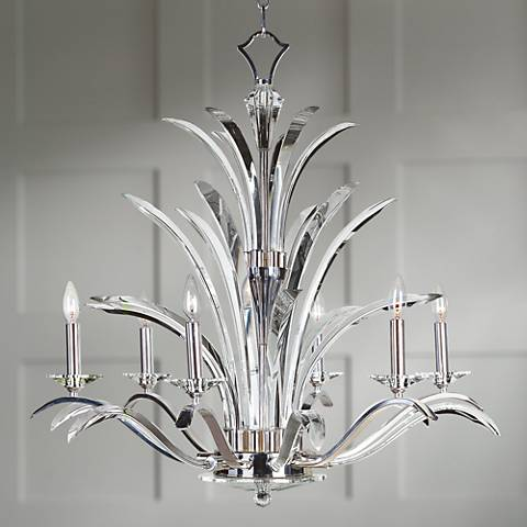 "Paradise Plated Silver Crystal 34"" Wide 6-Light Chandelier"