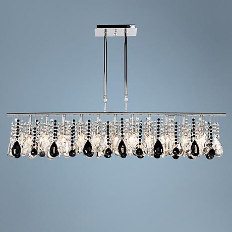 "Luminous 48"" Wide Clear and Black Crystal Chandelier"