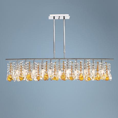 "Luminous 48"" Wide Clear and Amber Crystal Chandelier"