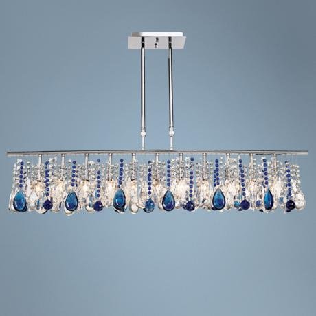 "Luminous 48"" Wide Clear and Blue Crystal Chandelier"