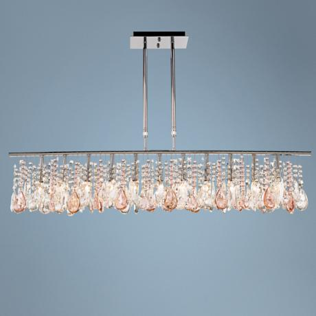 "Luminous 48"" Wide Clear and Pink Crystal Chandelier"