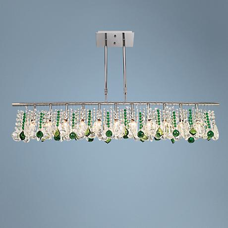 "Luminous 48"" Wide Clear and Green Crystal Chandelier"
