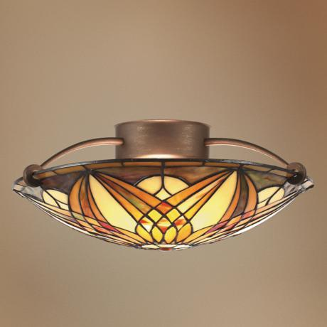 "Art Noveau 17"" Wide Semi- Flushmount Ceiling Light Fixture"