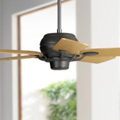 "52"" Casa Optima Matte Black Oak Ceiling Fan"