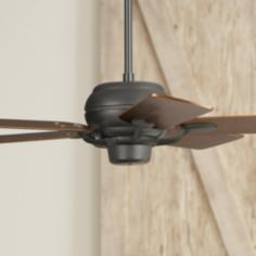 "52"" Casa Optima Matte Black Square Walnut Blades Ceiling Fan"