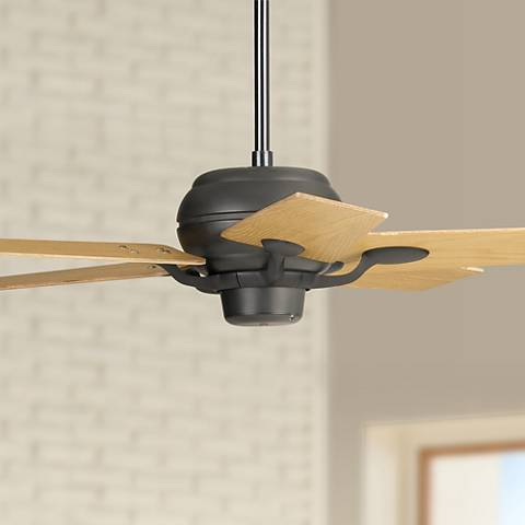 "52"" Casa Optima Matte Black Oak Blades Ceiling Fan"