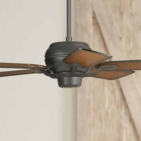 "52"" Casa Optima Matte Black Teak Finish Blades Ceiling Fan"