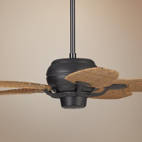 "52"" Casa Optima Matte Black Honey Rattan Blades Ceiling Fan"