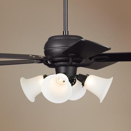 "52"" Casa Optima Matte Black White Glass Ceiling Fan"