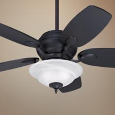 "43"" Casa Optima Matte Black Ceiling Fan with Light Kit"