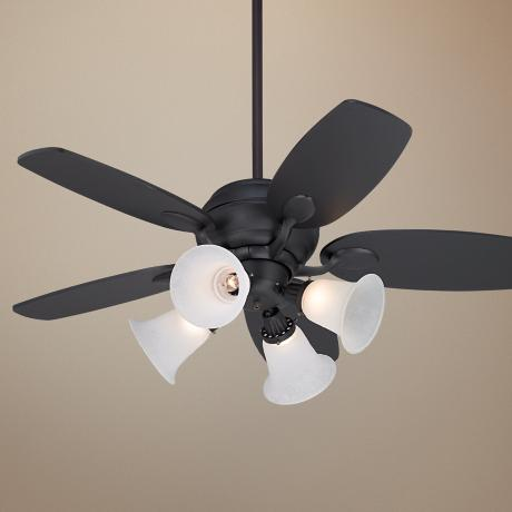 "43"" Casa Optima Matte Black Ceiling Fan with 4-Light Kit"