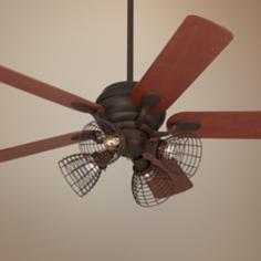 "52"" Casa Optima Teak and Bronze Industrial Ceiling Fan"