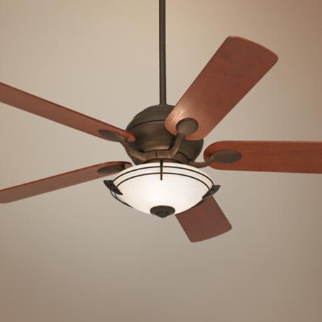 "52"" Casa Optima Teak Blade Ceiling Fan with Light Kit"