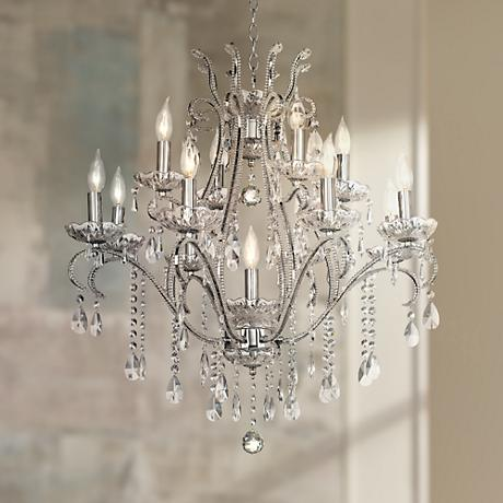 "Chrome and Crystal 29"" Wide 12-Light Chandelier"