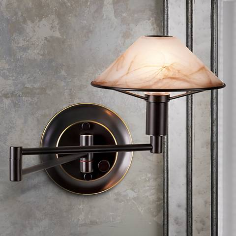 Holtkoetter Old Bronze Swing Arm Wall Lamp