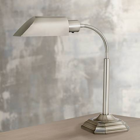 OTT-LITE Alexander Nickel Energy Saving Gooseneck Desk Lamp