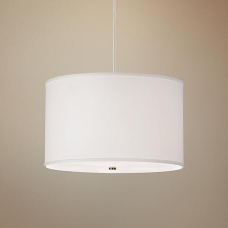 "Lexington 20"" Wide White Shade Satin Nickel Pendant Light"