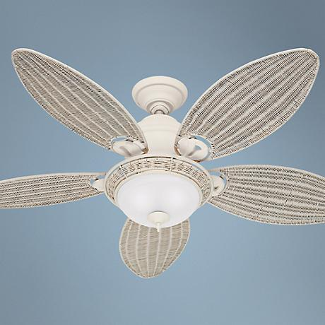 "54"" Hunter Caribbean Breeze White Ceiling Fan"