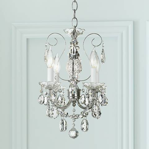"New Orleans 12"" Wide Silver Hand-Cut Crystal Mini Chandelier"