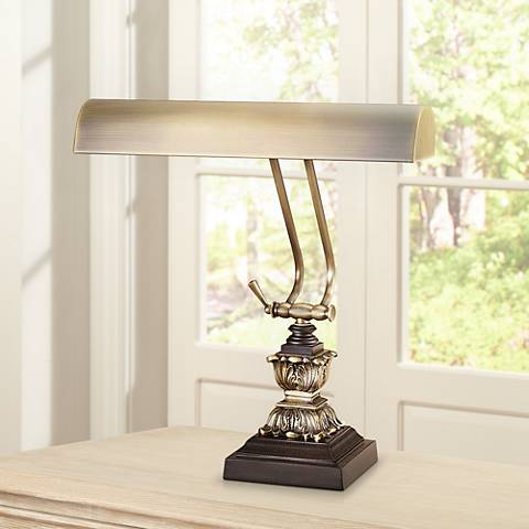 Brass Finish With Cordovan  Accents Piano Desk Lamp