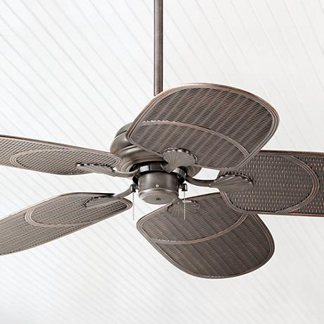 "52"" Casa Vieja Tropical Bronze Pull Chain Ceiling Fan"