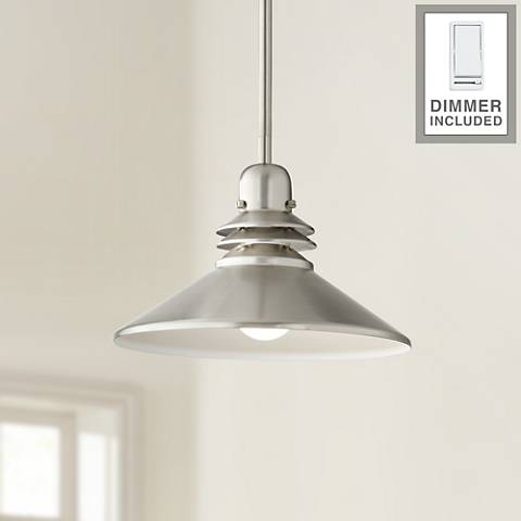 Brushed Nickel Mini-Pendant Chandelier with Dimmer