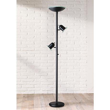 Black Gloss 3-in-1® Contemporary Torchiere Floor Lamp