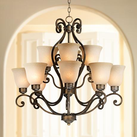 Bronze Over Iron Twelve Light Chandelier