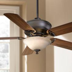 "52"" Minka Bolo Oil Rubbed Bronze Glass Light Ceiling Fan"