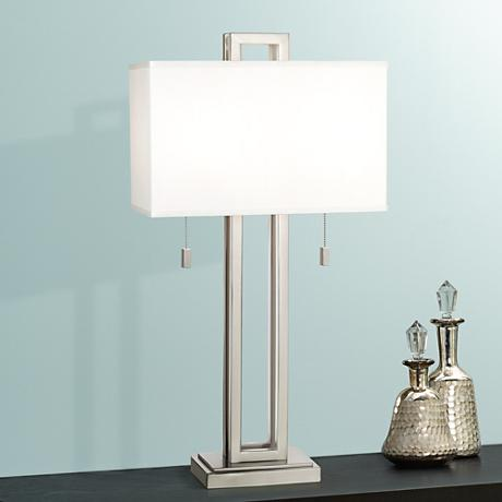 Possini Euro Design Brushed Nickel Rectangle Table Lamp 77738