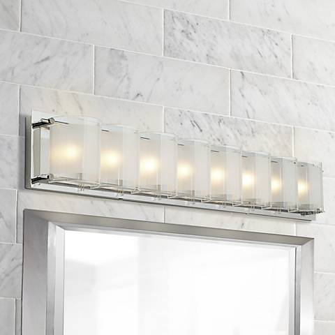 "Bathroom Lights Make Me Look Ugly possini euro design glass bands 30 1/2"" wide bath light - #77802"