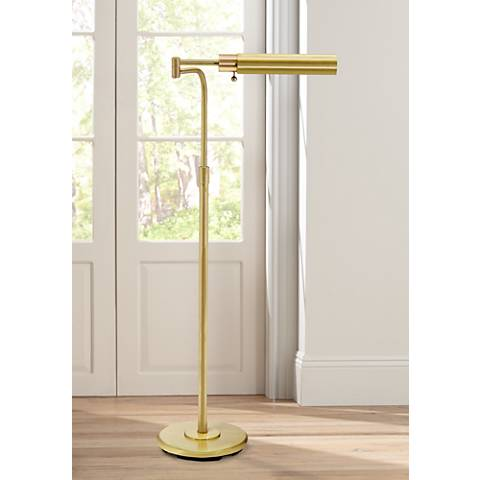House of Troy Swing Arm Pharmacy Satin Brass Floor Lamp
