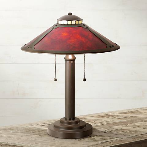 Robert Louis Tiffany Mica Collection Mission-Style Desk Lamp