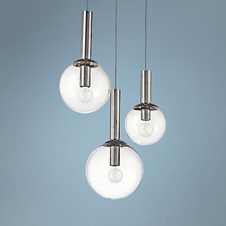 Robert Sonneman 3 Light Bubbles Globe Pendant Chandelier