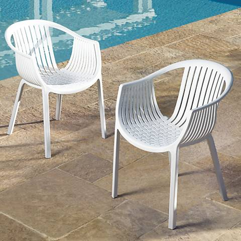 Delray Bay White Outdoor Accent Chairs Set of 2