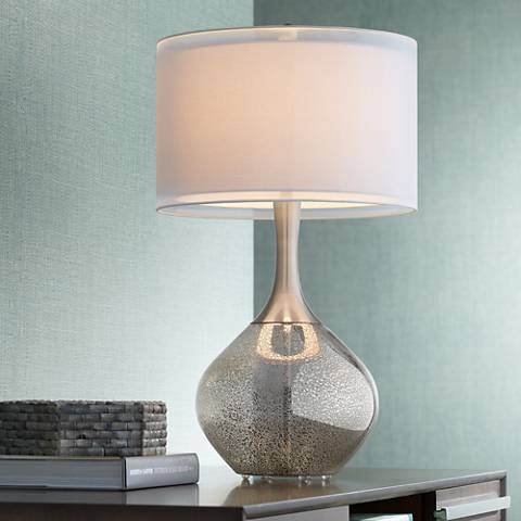 Possini euro design swift modern mercury glass table lamp for Modern contemporary table lamps