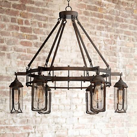 "Anselda 36"" Wide 6-Light Bronze Chandelier"
