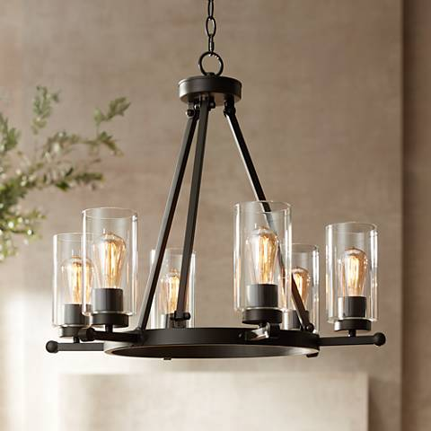 "Holman Bronze 6-Light 26 3/4"" Wide Industrial Chandelier"