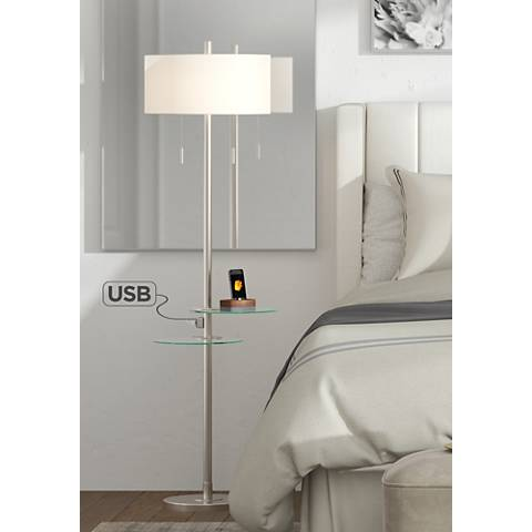 Possini Euro Concierge Double Tray Floor Lamp with USB