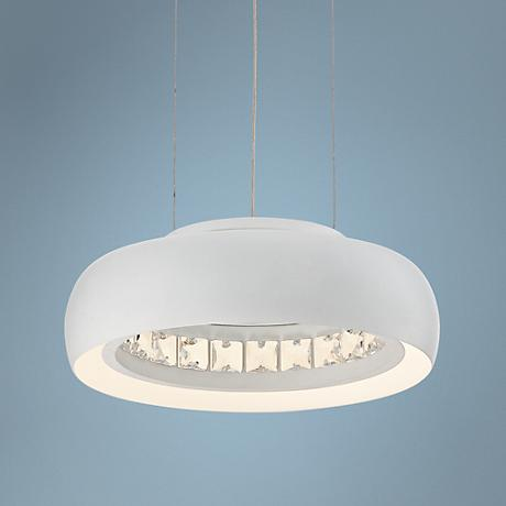 "Possini Euro Fodrie Matte White 10"" Circular LED Pendant"