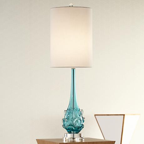 Possini Euro Dinah Blue Art Glass Table Lamp 7f304