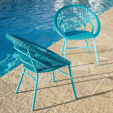 Alyso Cove Woven Blue Outdoor Chair Set of 2